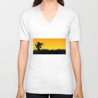 samurai V-neck T-shirts featuring samurai by naughty ogre