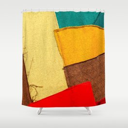 Colorful Textile Patches. Red, Green, Yellow Colors. Natural Abstract Art Shower Curtain