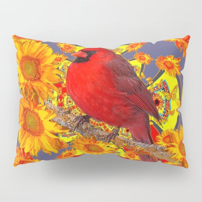 GOLDEN SUNFLOWERS RED CARDINAL GREY ART Pillow Sham