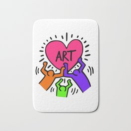 """Keith Haring inspired """"I Love Art"""" Secondary Colors edition Bath Mat"""