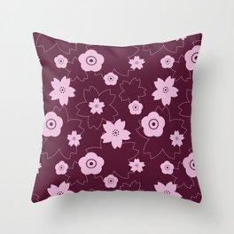 Sakura blossom - burgundy Throw Pillow