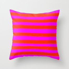Sweet Stripes in Pink and Red Line Art #decor #society6 #buyart Throw Pillow