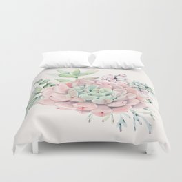Perfect Pink Succulent Duvet Cover