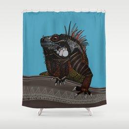 iguana blue Shower Curtain