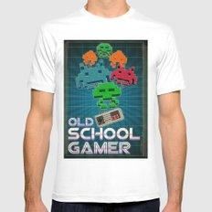 Old School Gamer MEDIUM White Mens Fitted Tee