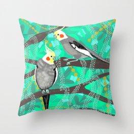 Cockatiels in Green Throw Pillow