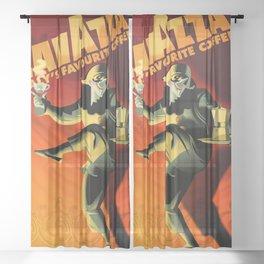 "Vintage Lavazza Italian Pagliacci ""Clown"" Coffee Lithograph Advertisement Poster Sheer Curtain"