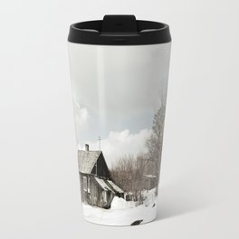 dilapidated wooden house cottage in winter Travel Mug