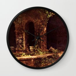Carl Blechen - Grotto in The Park of The Villa d'Este near Rome - German Romanticism - Oil Painting Wall Clock