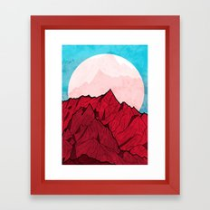 Red mountains under the great moon Framed Art Print