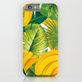 Tropical leaves decor bananas print forest interior palm iPhone Case