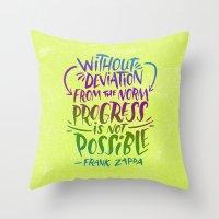 zappa Throw Pillows featuring Frank Zappa on Progress by Josh LaFayette