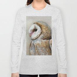 Barn Owl Watercolor, Birds Of Prey Wild Animals Owls Long Sleeve T-shirt