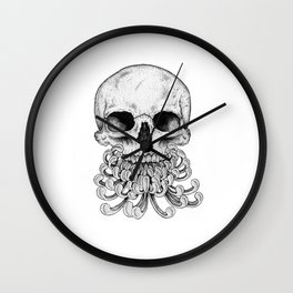 Peony Skull Creation Wall Clock