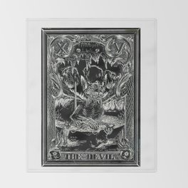THE DEVIL of Tarot Cats Throw Blanket