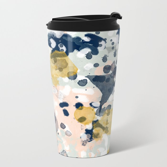 Esther - abstract minimal gold navy painting home decor minimalist hipster art Metal Travel Mug