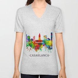 Casablanca Morocco Skyline Unisex V-Neck