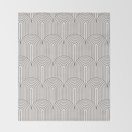 Art Deco Arch Pattern IX - Black & White II Throw Blanket