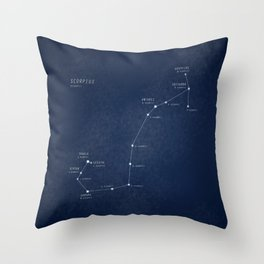 Scorpius constellation star map Throw Pillow