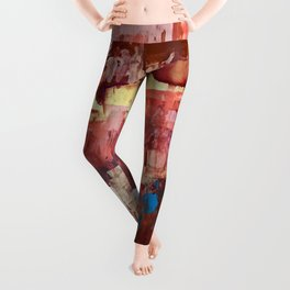 Desert Sun [4]: a bright, bold, abstract piece in vibrant gold, red, pink, purple, and blue Leggings