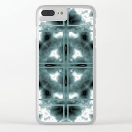Elegant Retro Teal Blue Bohemian Mosaic Kaleidoscope Pattern Clear iPhone Case