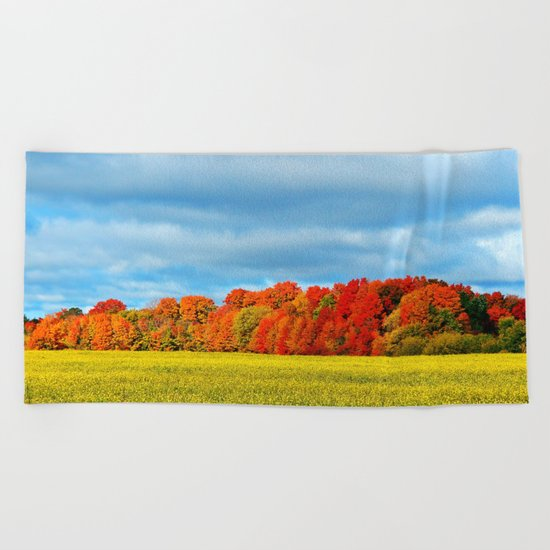 The Field and the Forest in October Beach Towel