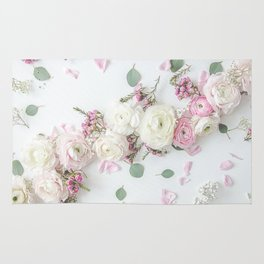 SPRING FLOWERS WHITE & PINK Rug