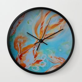GoldFish Bubbles 1sw watercolor by CheyAnne Sexton Wall Clock