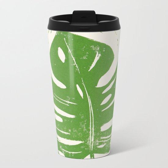 Linocut Leaf Metal Travel Mug