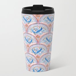 Art Deco Fresco in Sky Blue and Coral Metal Travel Mug