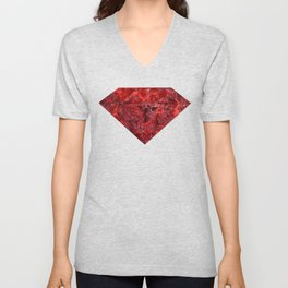 Marble Ruby Blood Red Agate Unisex V-Neck