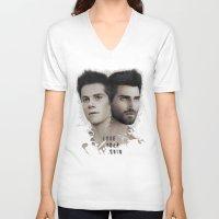 stiles stilinski V-neck T-shirts featuring LoseYourMind - Stiles Stilinski / Derek Hale ( Sterek - Teen Wolf ) by Caim Thomas
