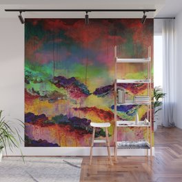 IT'S A ROSE COLORED LIFE 4 - Deep Red Colorful Floral Garden Abstract Crimson Green Painting Wall Mural