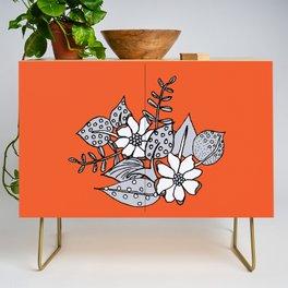 Orangey Gray Floral Credenza