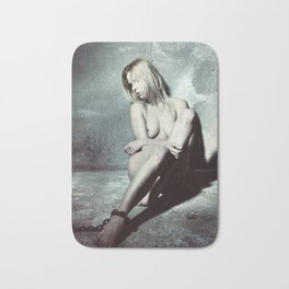 Nude and Beautiful woman bound with an old iron chain Bath Mat