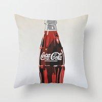 coca cola Throw Pillows featuring Coca-Cola by Marta Barguno Krieg