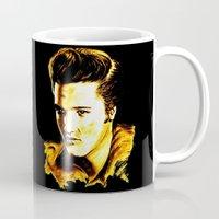 elvis presley Mugs featuring Elvis Presley by GittaG74