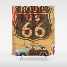 Route 66 Vintage Travel Poster Shower Curtain