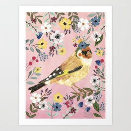 Goldfinch bird with floral crown Art Print
