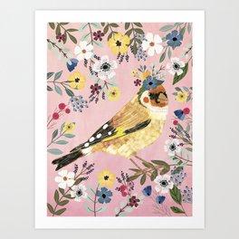 Goldfinch bird with floral crown Kunstdrucke