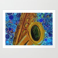 saxophone Art Prints featuring Saxophone  by gretzky