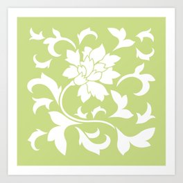 Oriental Flower - Daiquiri Green Art Print