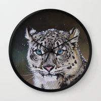 snow leopard Wall Clocks featuring Snow Leopard by Robin Design