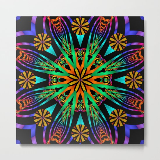 Colourful fantasy flower with tribal patterns Metal Print