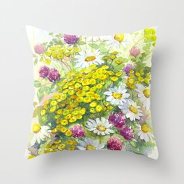 Watercolor meadow flowers spring Throw Pillow