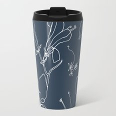 Drawings from Stonecrop Garden, Pattern in Navy Travel Mug