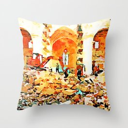 L'Aquila: bulldozer and firefighters on the rubble in the interior of church destroyed Throw Pillow