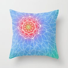 Center of Attention - leaf & flower doodle in emerald, blue & purple Throw Pillow