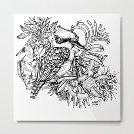 Kookaburra with flowers (Australia) Metal Print