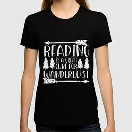 Reading is a Great Cure for Wanderlust (Green Background) T-shirt
